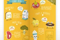 卡通儿童菜单模板矢量素材