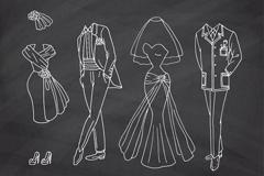 4款婚礼服饰黑板画矢量素材