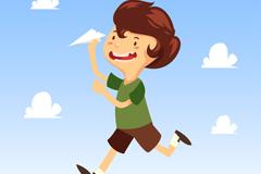 卡通玩纸飞机的男孩矢量素材