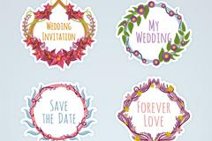 4款水彩绘婚礼花卉标签矢量素材