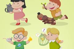4款卡通快乐儿童和小动物矢量素材