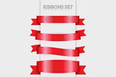 6款红色丝带条幅矢量素材