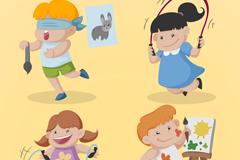 4个卡通学艺术的儿童矢量素材