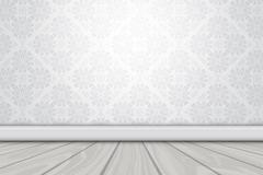 白色花纹墙壁和木地板矢量素材