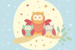 可爱猫头鹰母亲节贺卡矢量素材