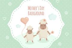 可爱绵羊母亲节祝福卡矢量素材