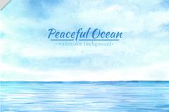 蓝色平静的海面风景矢量素材
