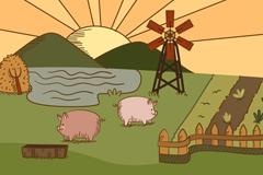 复古彩绘农场风景和猪矢量素材