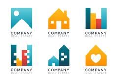 6款彩色房地产标志矢量梦之城娱乐