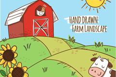 手绘美丽农场风景矢量素材