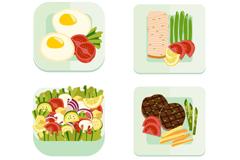 4款健康食物设计矢量素材
