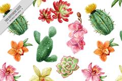 水彩绘多肉植物无缝背景矢量素材