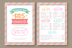 彩绘条纹儿童菜单矢量素材