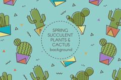 创意仙人掌盆栽无缝背景矢量素材