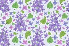紫色丁香花和叶子无缝背景矢量图