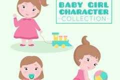 3款可爱女婴设计矢量素材