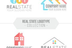 4款彩色房地产标志矢量素材