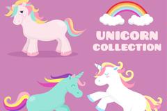 3款彩色鬓毛独角兽和彩虹矢量素材
