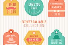 6款彩色父亲节祝福标签矢量素材