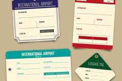 4款创意国际航班行李牌矢量素材