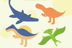 4款彩色恐龙设计矢量素材