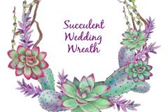 水彩绘多肉植物婚礼花环矢量素材