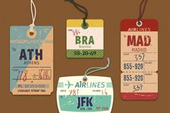 4款复古飞机行李牌矢量素材