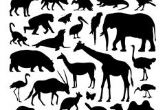 27款野生动物剪影矢量素材
