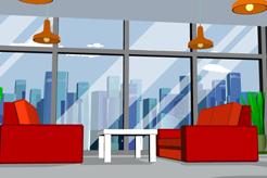 时尚红色沙发会议室矢量素材