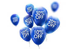 蓝色促销打折宣传用气球矢量素材