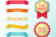 5款优质条幅和2款促销标签矢量素材