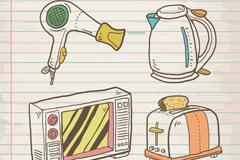4款手绘家用电器矢量素材