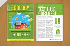 绿色生态学宣传单页矢量素材