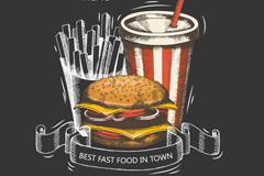 彩绘快餐食品菜单封面矢量素材