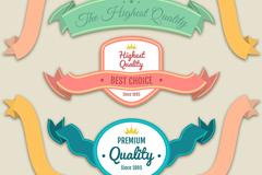 7款彩色复古促销丝带条幅矢量素材