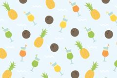 卡通菠萝和冷饮无缝背景矢量素材