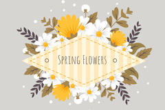 创意菱形春季花卉标签矢量素材