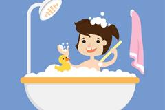 卡通洗浴的儿童和小黄鸭矢量素材
