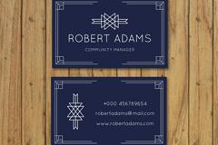 深蓝色简洁商务名片设计矢量素材
