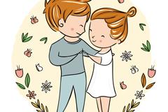 卡通金发跳舞的情侣设计矢量素材
