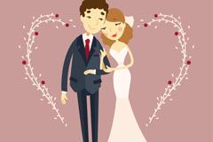 卡通婚礼新人和爱心矢量素材