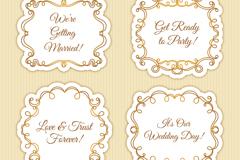 4款金色花边婚礼标签矢量w88优德
