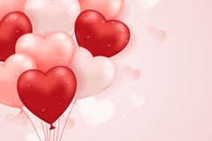 粉色和红色爱心气球束矢量素材