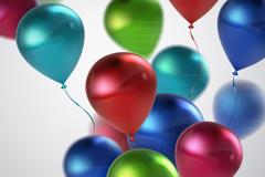 彩色缤纷逼真光泽气球矢量素材