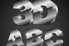 40个银色3D字母和数字设计矢量图