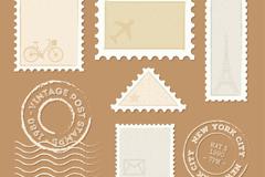 7款复古邮票和邮戳矢量素材