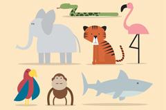 7款卡通热带动物矢量素材