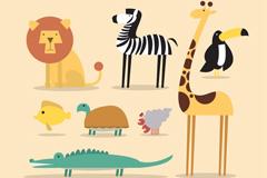 8款卡通热带动物矢量素材
