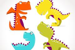 4款卡通呆萌大眼恐龙矢量素材