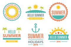 9款彩色你好夏季标签矢量素材